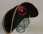 Black Bicorne Hat with Gold and Red Trim