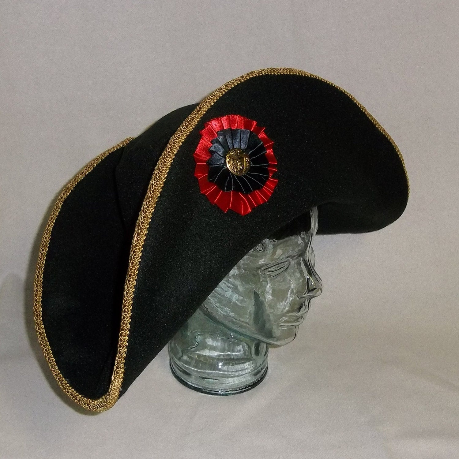 Bicorn Hat: Black Bicorne Hat With Gold And Red Trim By RoyalHouseOfWhimsy
