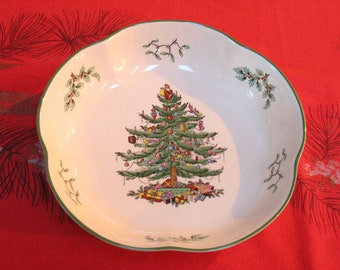 Christmas Spode Large Scalloped Serving Dish