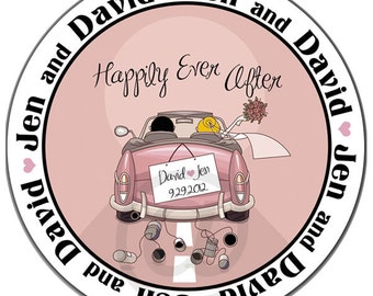 Personalized Wedding Favor Labels Happily Ever After - 100 GLOSSY 2 Inch Round Wedding Stickers