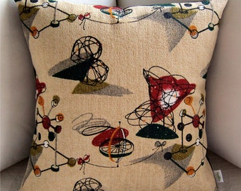 Retro Throw Pillow Cover -- Tinker Toys Melina Made Barkcloth - Premium Reproduction Barkcloth - Many Sizes Available