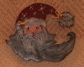 Wind Blown Santa Pin