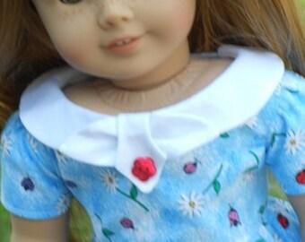 1950's Flair Dress In Ladybug & Daisy Print For American Girl Or Similar 18-Inch Dolls