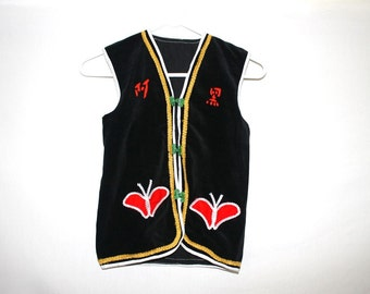 65 % off East Asian Mysterious Butterfly Embroidered Black Vest