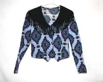 SALE 90s Aztec Tassle Topped Vintage Shirt