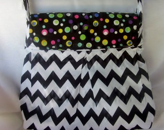 Black and White Chevron Pleated Diaper Bag with multicolor Dots