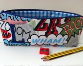 Back to School Superhero Retro Pencil Case with an Appliqued Initial of your Choice.