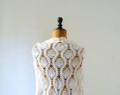Vintage white knit wrap. crochet shawl. cotton capelet