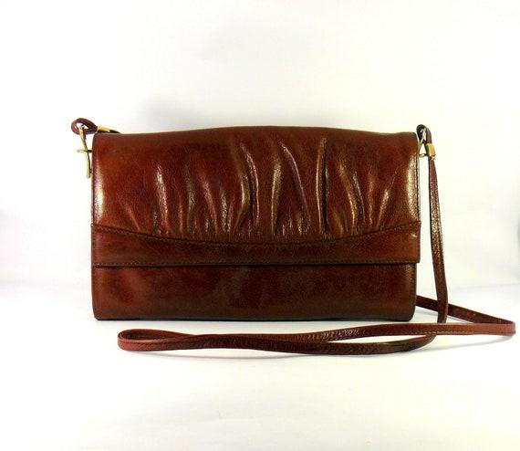 Vintage 1980s leather burgundy hip bag