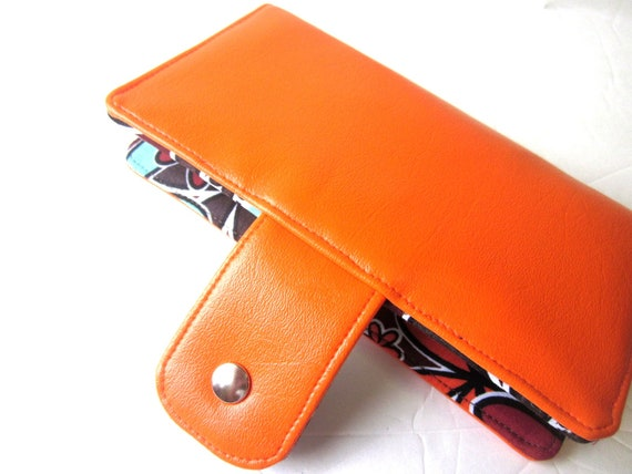 Handmade women orange wallet with bright floral print ID clear window pocket
