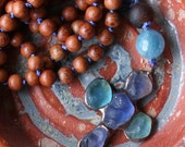 SALE - sea glass cross long necklace