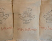 SALE- Muslin Favor Goody Bags - Happy Halloween Witch - 4x6 - Hand Stamped
