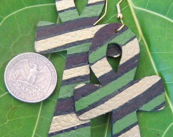 Bold Ankh Afrocentric Gold, Black, Green & Dark Brown Hand Painted Earrings - Lightweight