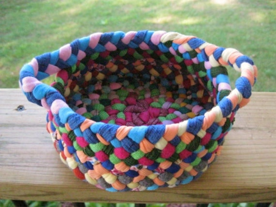 RESERVED for Waffie OOAK Colorful Braided Basket from upcycled cotton