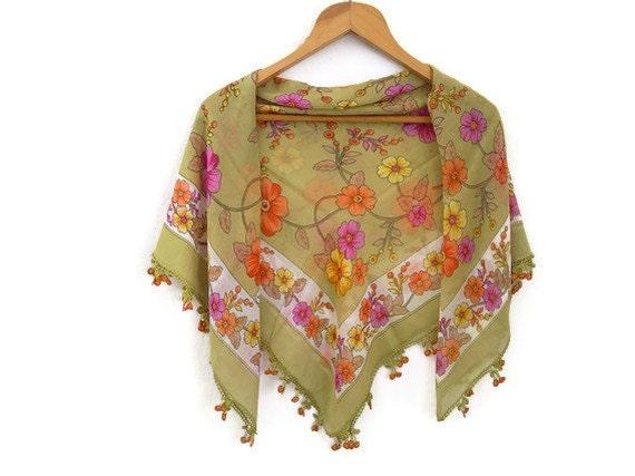 green turkish scarf, crochet edging