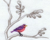 Embroidered Flour Sack Towel - Chinoiserie Bird in Branch Embroidery Design