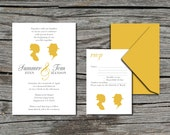 Wedding Invitation, DIY, Invite and RSVP, Cameo Silhouette, Printable, Digital File by ticklemeink on Etsy