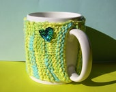Knitted Mug Cozy - Blue, Green, Yellow Checkered with Blue Sequin Heart
