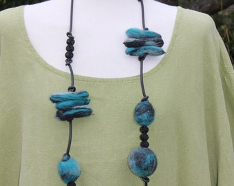Lagenlook chunky turquoise felted wool & rubber statement necklace .. .. jade grey black ......OOAK Art to Wear