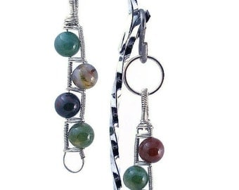 Gemstone Ladder - pet Owner & Dog matching jewelry set, pendant and collar charm, wire wrapped by hand