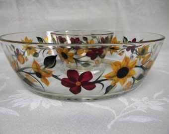 Chip and dip bowl, hand painted serving bowl, large serving bowl, sunflowers, serving bowl