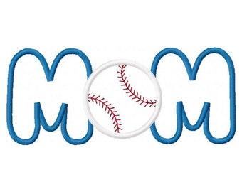 Baseball Softball Mom Digital Embroidery Machine Applique Design 10617
