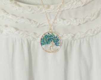 Necklace Tree Of Life  /  Sterling Silver Chain / Pendant / Blue Aqua Mint Teal