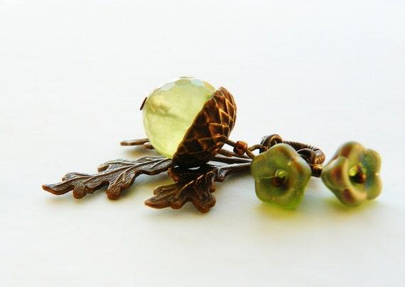 Acorn Necklace Prehnite With Czech Glass Flowers And Vintaj Brass
