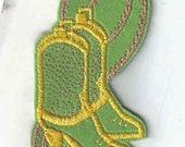 Green and Yellow Boots and Rope - 1970's New Vintage Patch Applique