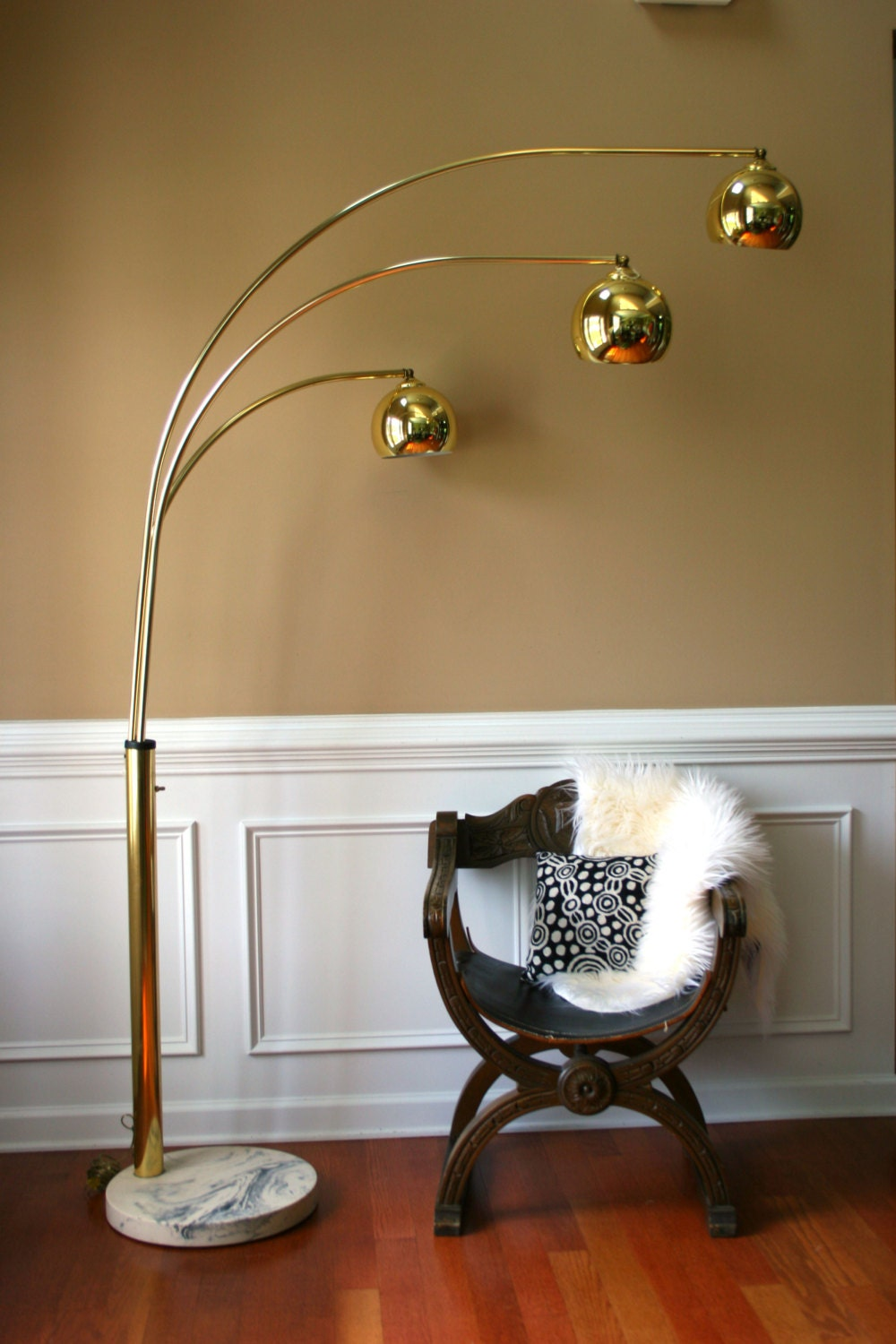 vintage brass arc floor lamp mid century