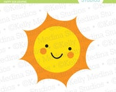 Happy Sun - Yellow and Orange - Commercial and Personal Use Clip Art Single Graphics