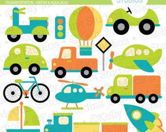 Transportation Green and Aqua Blue - Clip Art Set Digital Elements for Cards, Stationery and Paper Crafts and Products