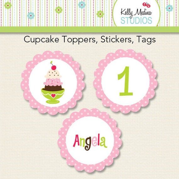 "Custom Ice Cream 2"" Circles - 2 inch Circle Digital Printable Sheet - Personal use for Cupcake Toppers, Magnets, Paper Crafts and Products"