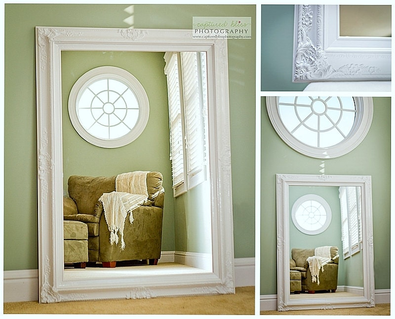 Awesome Vintage Mint Oval Mirror Shabby Chic Beach Cottage