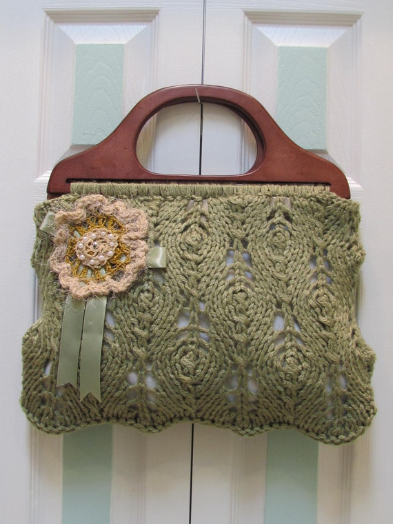 WOMAN'S , HANDBAG, Dusty Green, oversized, hand knitted, with brown wooden handles and crocheted applique