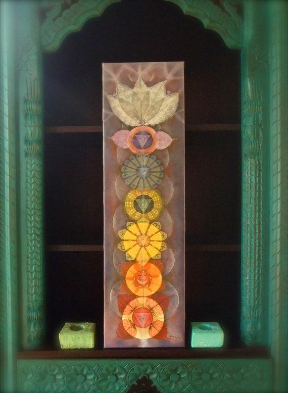Bodhi CHAKRAS painting Yoga art Reiki energy YOGA PAINTING Spiritual painting print on canvas prana Rainbow colors Lotus Flowers