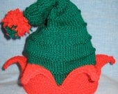 Special order for Stephanie (sdawn99) - handknit Green Christmas Elf hat -made to order