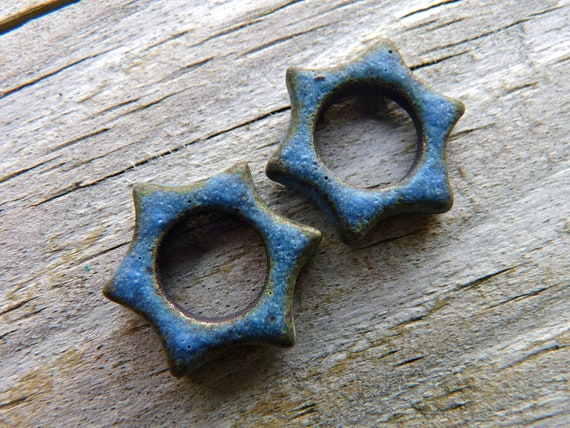 30% OFF - Ancient Blue Grotto Star Links - Handmade Ceramic Links