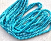 AAA Quality, Full 15 Inch Long Strand Strand, 3.5-4.5mm Long, Natural ARIZONA Turquoise Faceted Rondells,Superb-Finest Quality