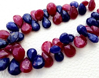 New Arrival, Dyed Natural Ruby & Sapphire Faceted Pear Shape briolettes,9-11mm Long, Finest Item