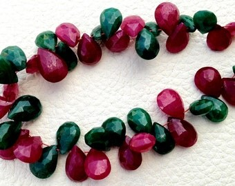 New Arrival, Dyed Natural Ruby & Emerald Faceted Pear Shape briolettes,7-8mm Long, Finest Item
