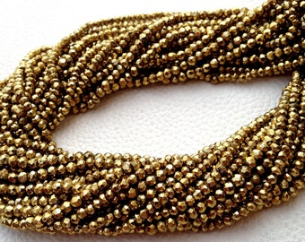 10 Strands,Brand New, Mystic Deep GOLDEN Pyrite Faceted Rondelles, 3.5mm size,Amazing AAA Quality Wholesale Price.