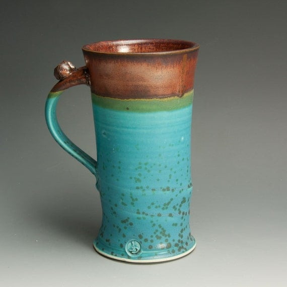 Porcelain handcrafted coffee mug or beer stein turquoise blue xl - 636