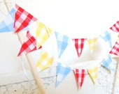 Birthday Party Cake Topper Banner, Fabric Pennant Flag Gingham Bunting, Blue, Yellow, Red, Vintage Circus Party, Baby Shower Decor, Birthday