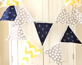 21 Flag Fabric Bunting, 9 Feet Party Banner, Nautical Navy Blue, Yellow Chevron Stripes, Grey Polka Dot, Baby Nursery Decor, Wedding Garland