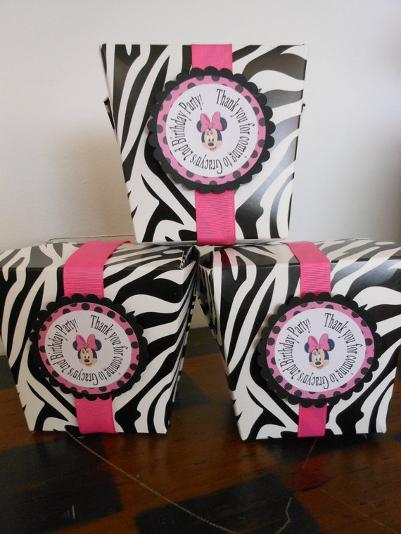 Minnie Mouse Zebra Take Out Party Boxes with by ASweetCelebration