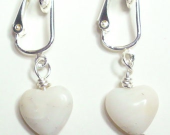 Magnesite White Heart Clip On Earrings