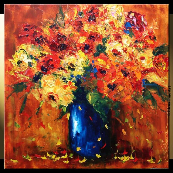 ELENA original 24x24 poppies bouquet oil palette knife painting contemporary modern