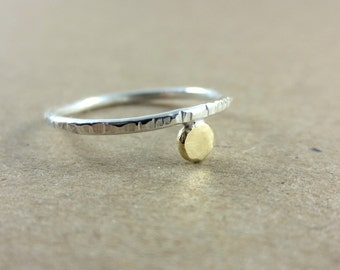 Golden Sun Hammered Skinny Sterling Silver Ring