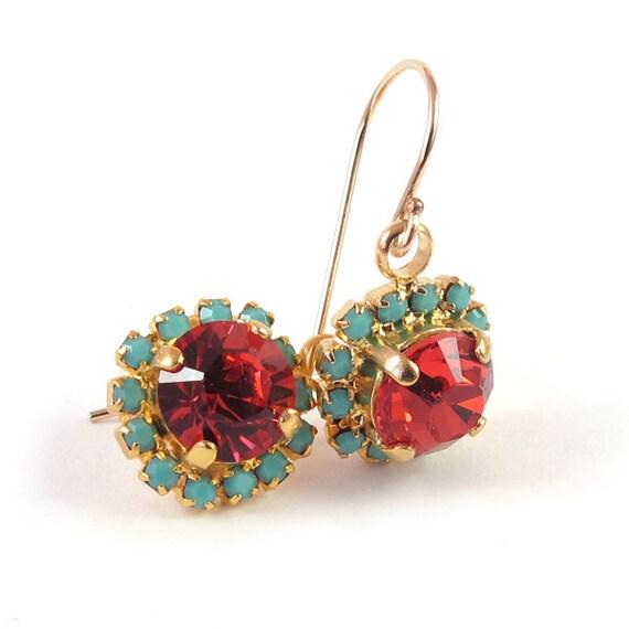 Gold earrings, Crystal dangle earrings, peach & turquoise earrings,  14k gold filled ear wire, real swarovski rhinestones